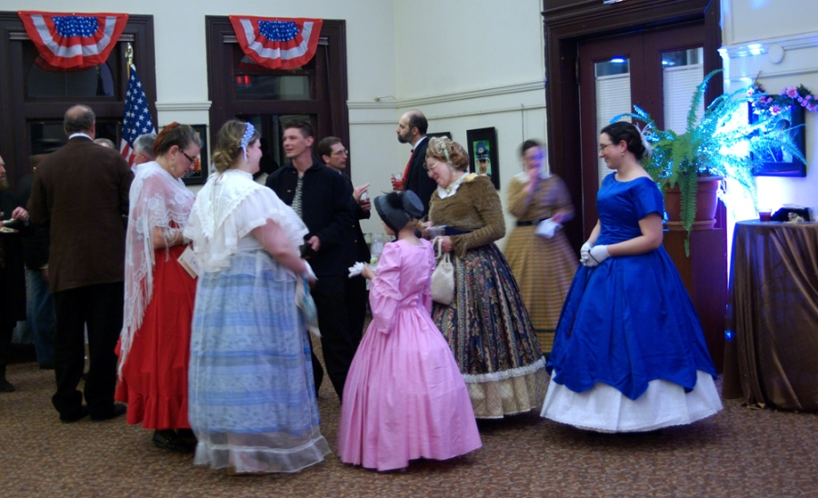 Colorful dresses during a break in the dancing.